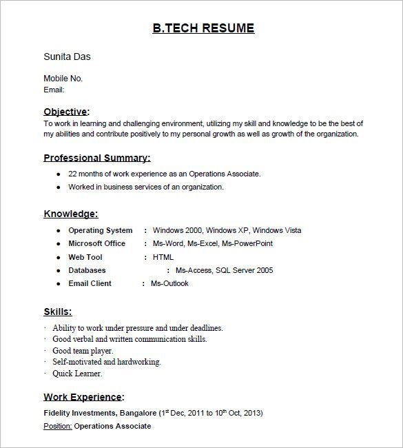Tech Freshers Resume Format For Experienced Sample Cover Letter