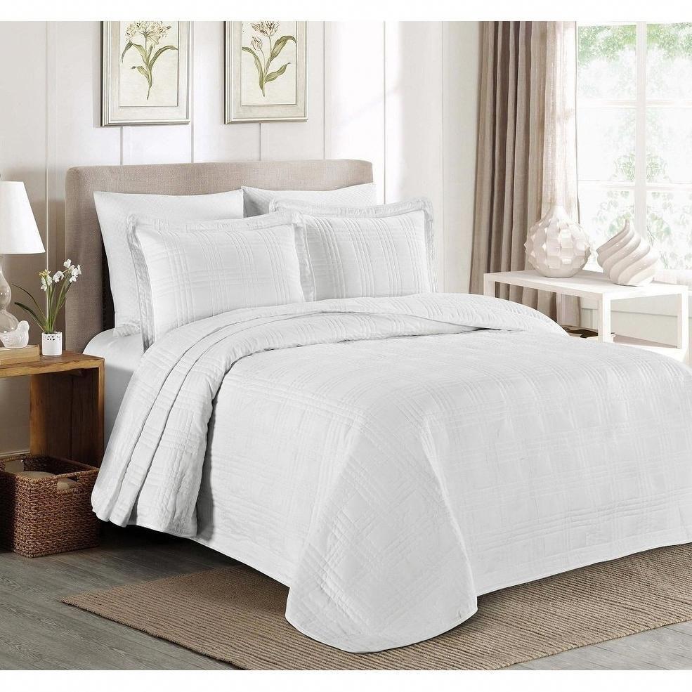 Everrouge 3pcs Kingston Oversized Quilted Bedspread Set Queen White Decoracionhabitacionpareja Bed Spreads Bedspread Set Bedding Sets