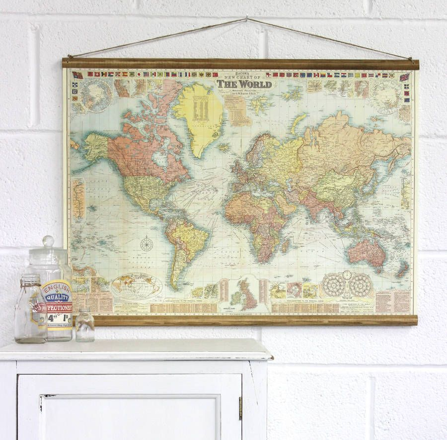 Bacons New Chart Of The World Map Wall Hanging By Vintage Betty   Notonthehighstreet