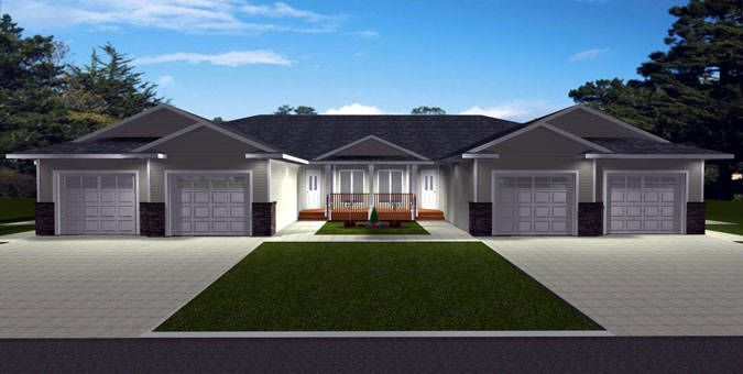 Plan 2011583 nice looking neighborhood 4 plex by for Fourplex plans with garage