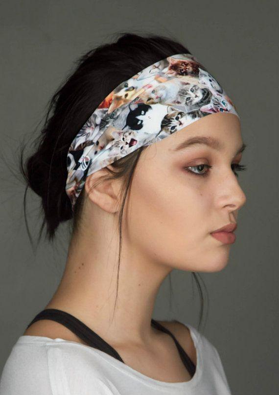 Cat Lady Headband  No Slip Yoga Headband by Manda by MandaBees