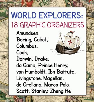 World Explorers is a set of graphic organizers for 18 important explorers who contributed to the exploration of the world over many centuries.  Two naturalist explorers of the 19th century are included.
