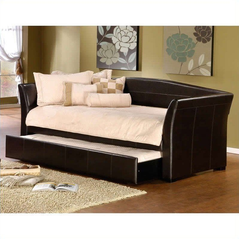 hillsdale montgomery daybed in brown faux leather - Leather Daybed
