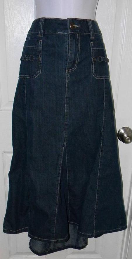 Women's Sz 16 CHRISTOPHER & BANKS Skirt Denim Blue Jean Modesty Full Ladies #christopherbanks #FullSkirt