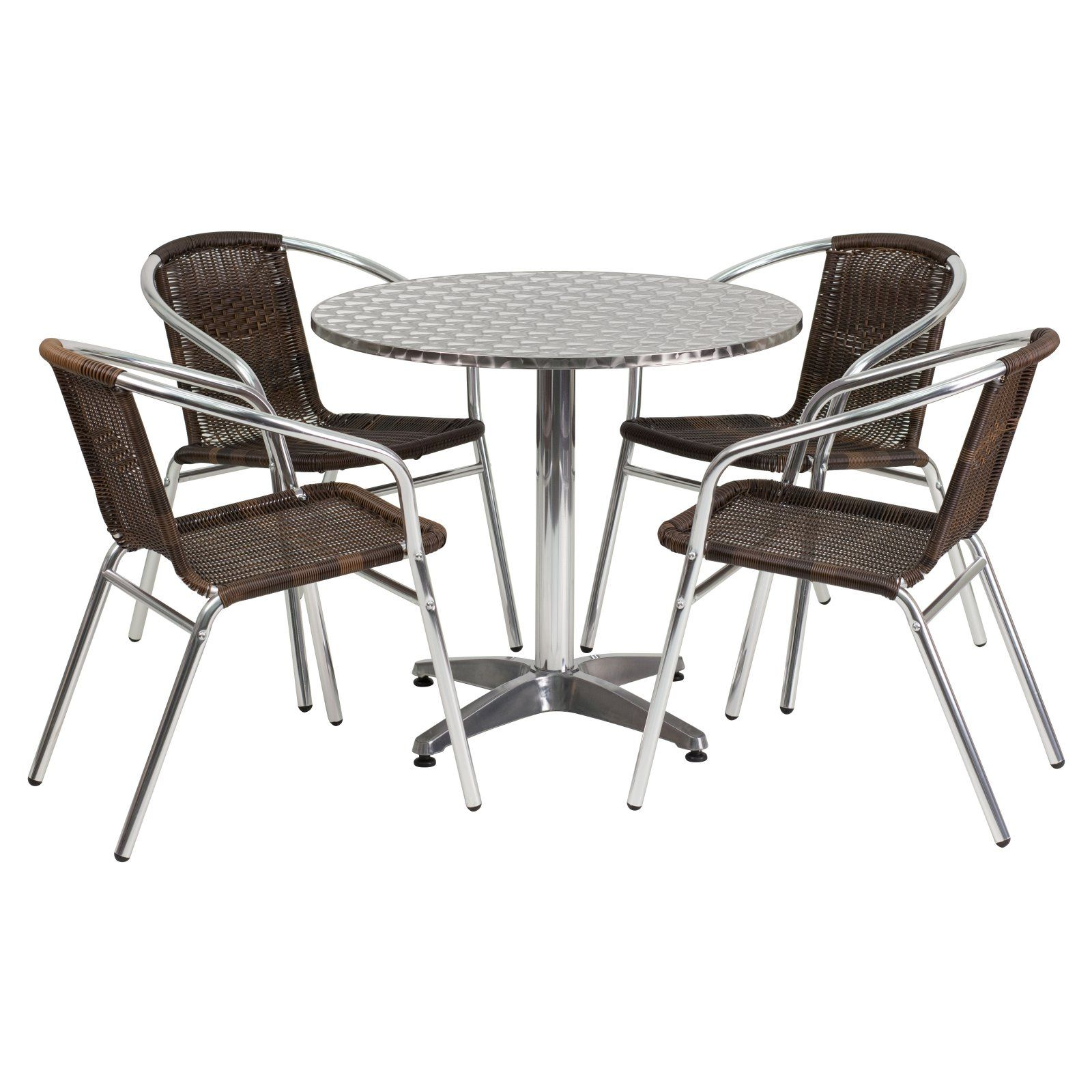 Flash Furniture 31 5 In Round Aluminum Indoor Outdoor Table With