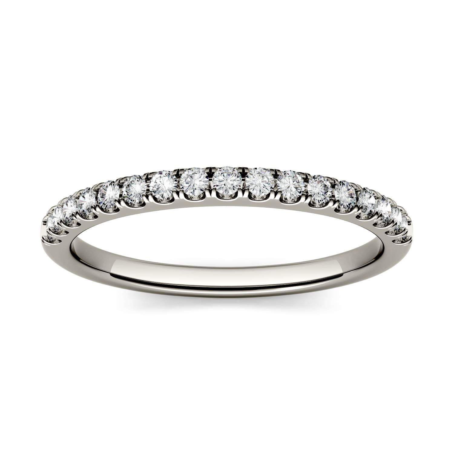 half moissanite solitaire band pave micro media eternity brilliant diamond ring engagement forever bands