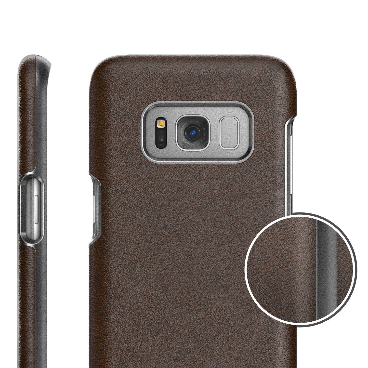 Galaxy S8 Vegan Leather Belt Clip Case w Holster Artura Collection by Encased Samsung S8 Mahogany Brown