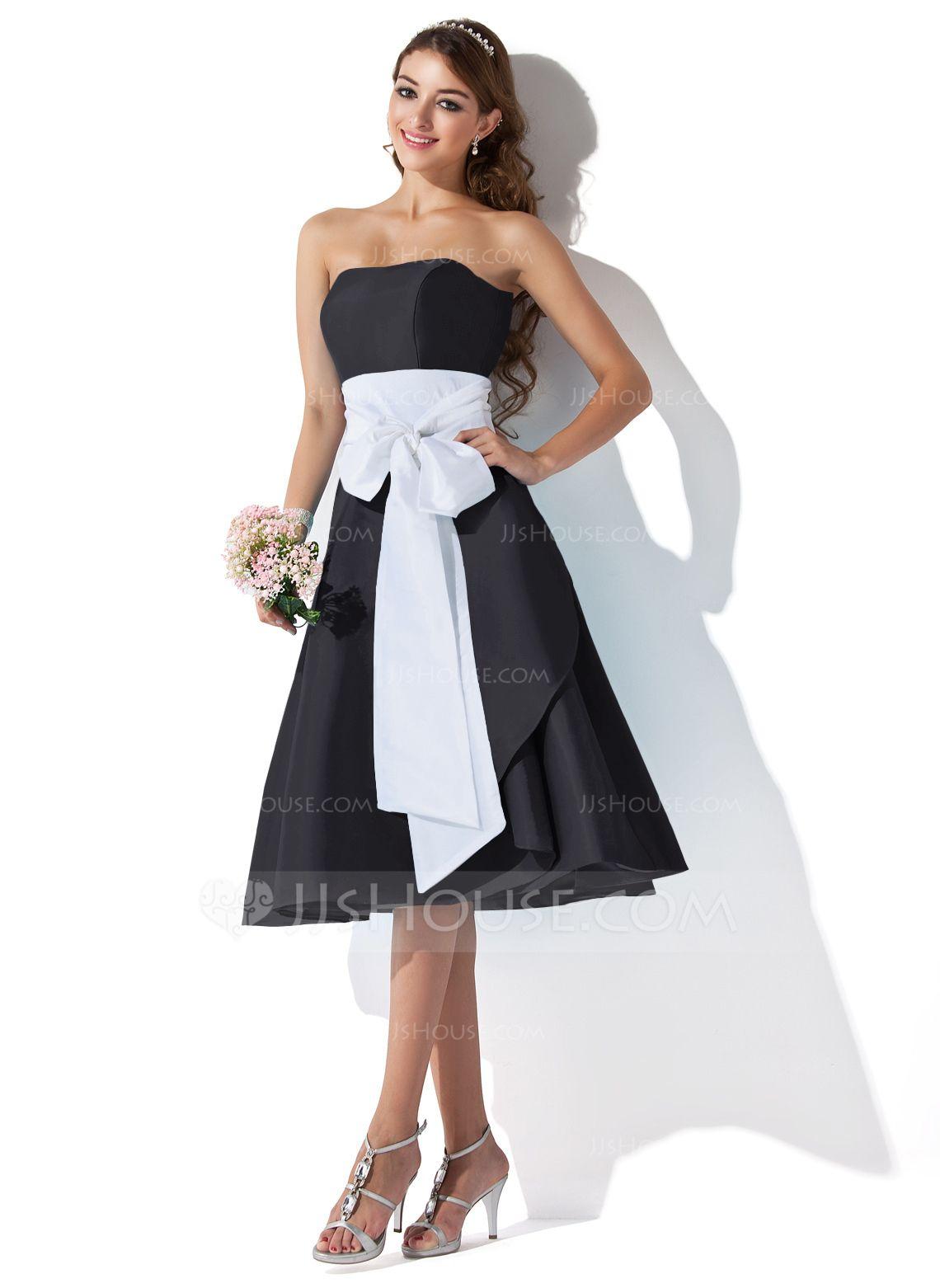 Alineprincess sweetheart kneelength taffeta bridesmaid dress with