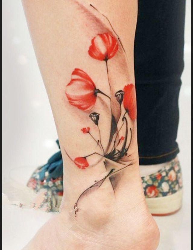 tatouage cheville couleur coquelicot tattoos pinterest tatouage cheville coquelicots et. Black Bedroom Furniture Sets. Home Design Ideas