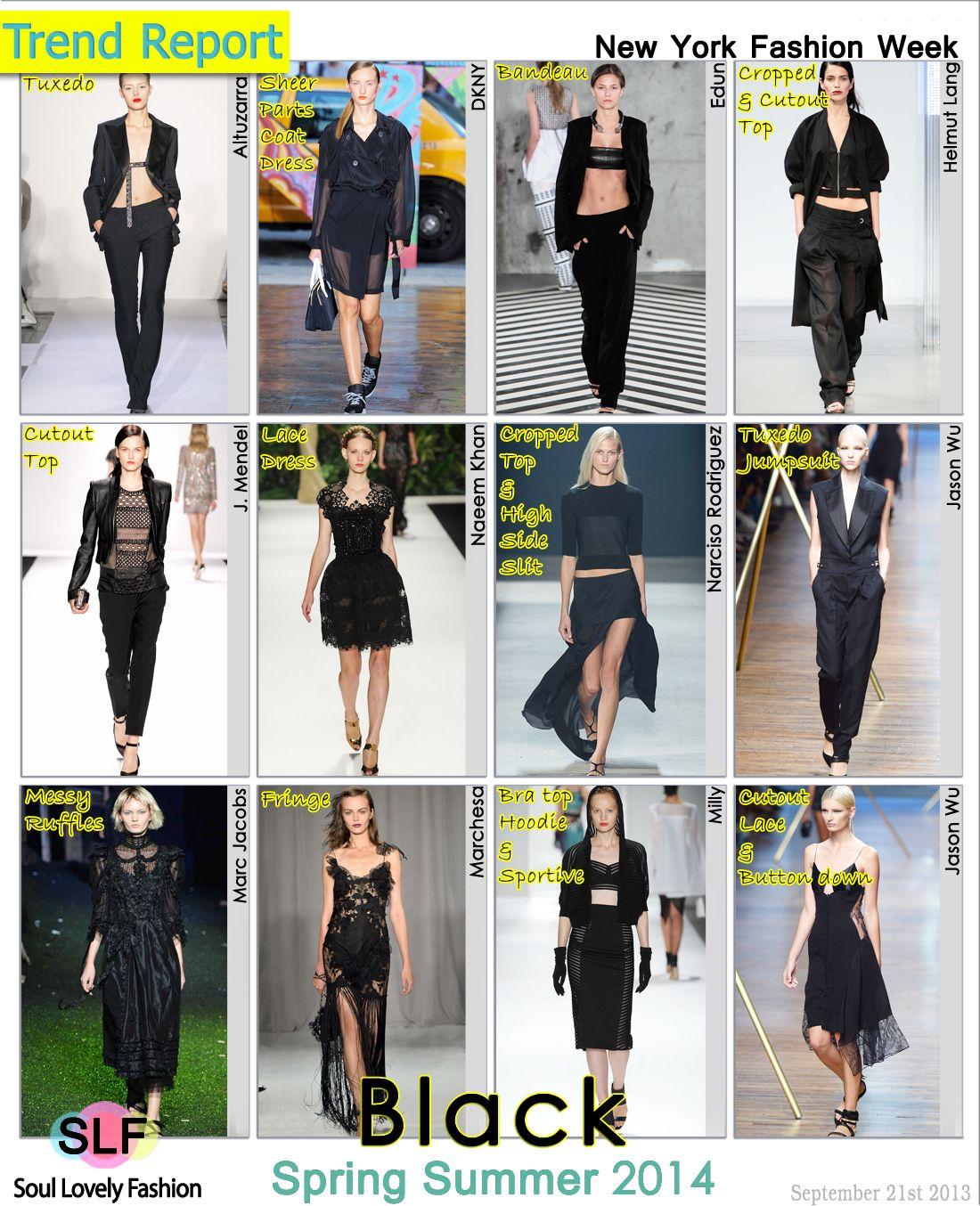 Black Color Fashion #Trend for Spring Summer 2014 at New York #Fashion Week #NYFW #Spring2014 #black #Colors #Trends