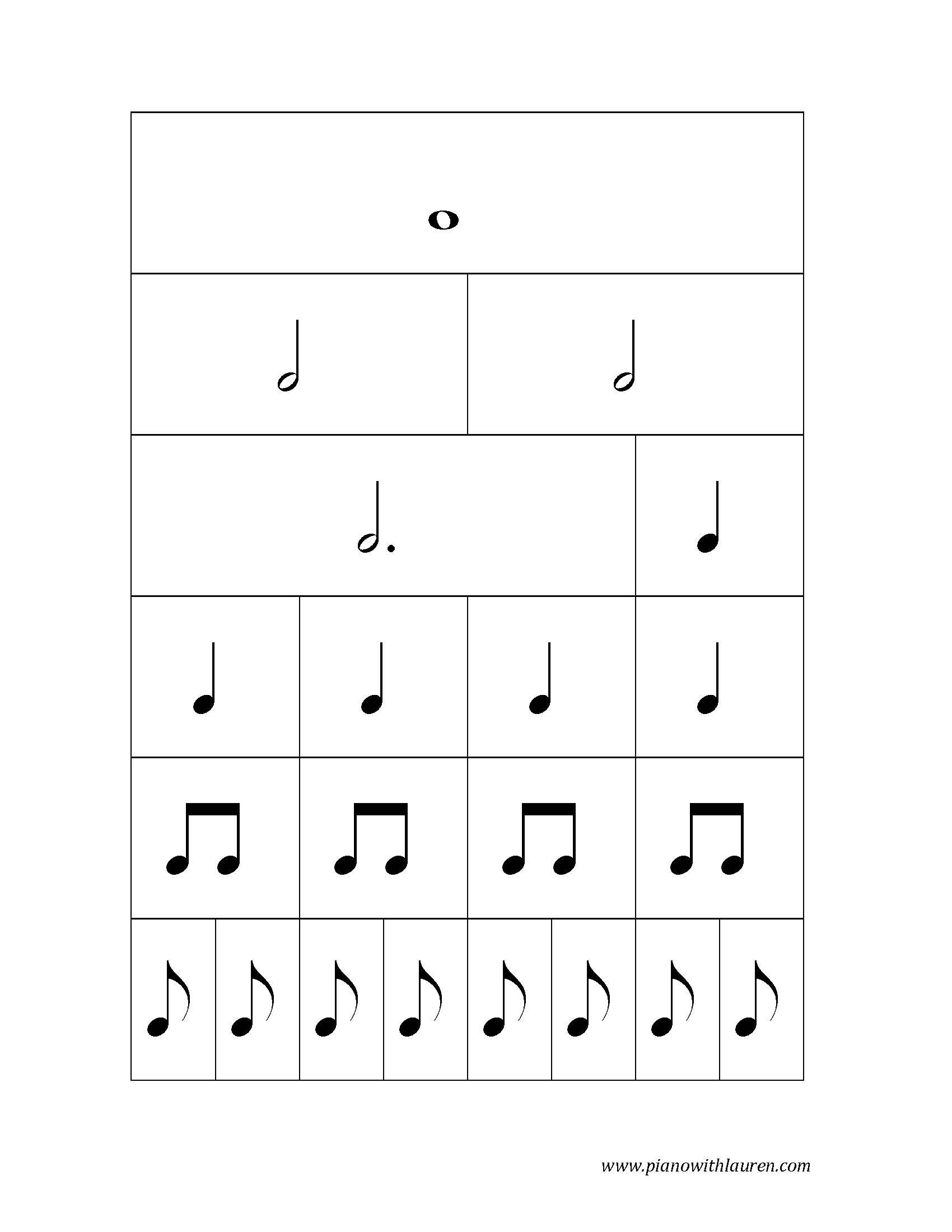 Printable Note Values Cards