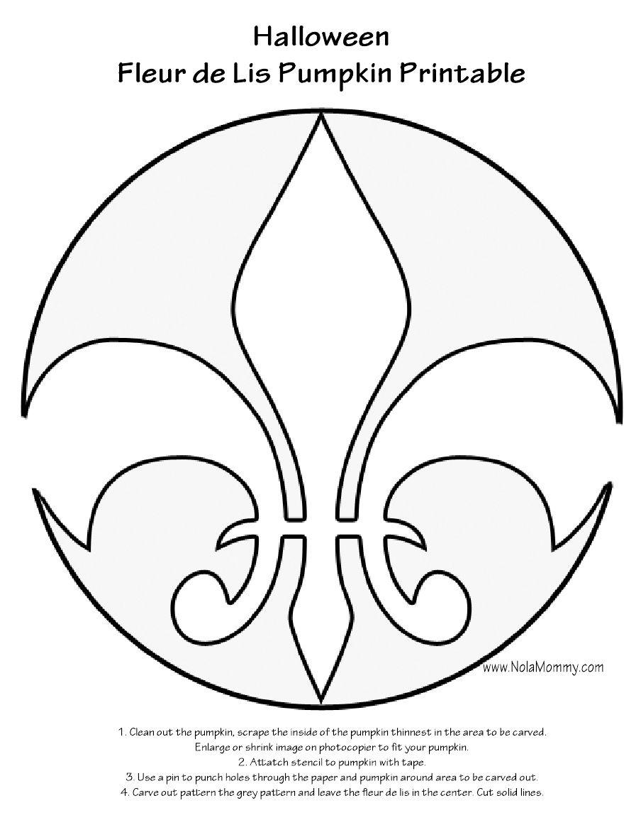 Fleur De Lis Pumpkin Carving Stencil