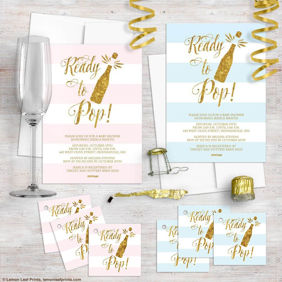 Ready to Pop - Baby Shower Invitation in Gold and Blush Pink PRINTED ...