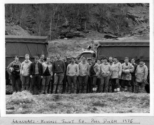 Joint Leuchars & Kinloss MRT's training exercise at Polldubh, Glen Nevis. In here - John Cosgrove, Les Boswell, Jim Green, Andy McDade, Gerry Byrne, Ron Stewart, Gerry Chapman, Dave Woods, Tom MacDonald, + pending others to be added.