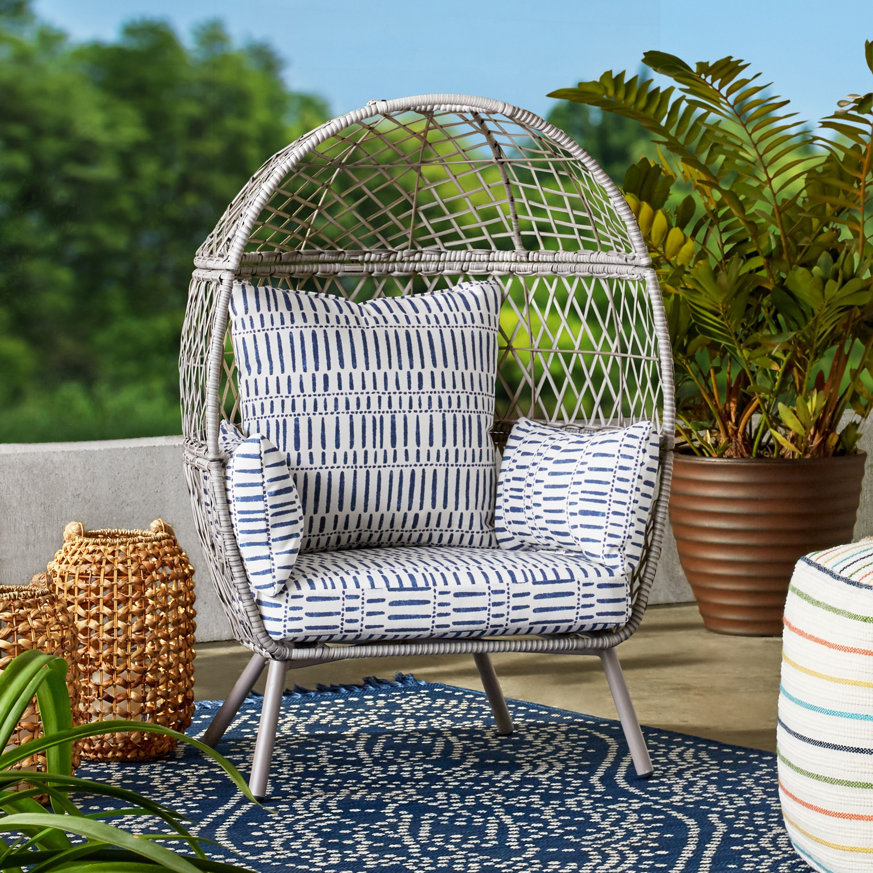 Free 2 Day Shipping Buy Better Homes Gardens Ventura Outdoor Kid S Stationary Egg Chair Gray At Walmart Co In 2021 Egg Chair Kids Stationary Better Homes Gardens