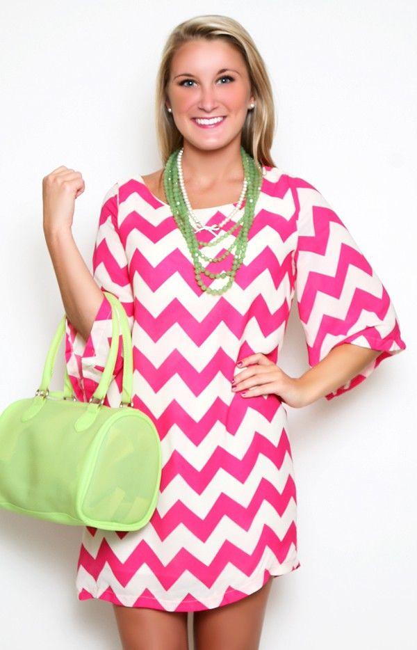 Heavenly Chevron Dress II in Pink (pink and white chevron dress ...