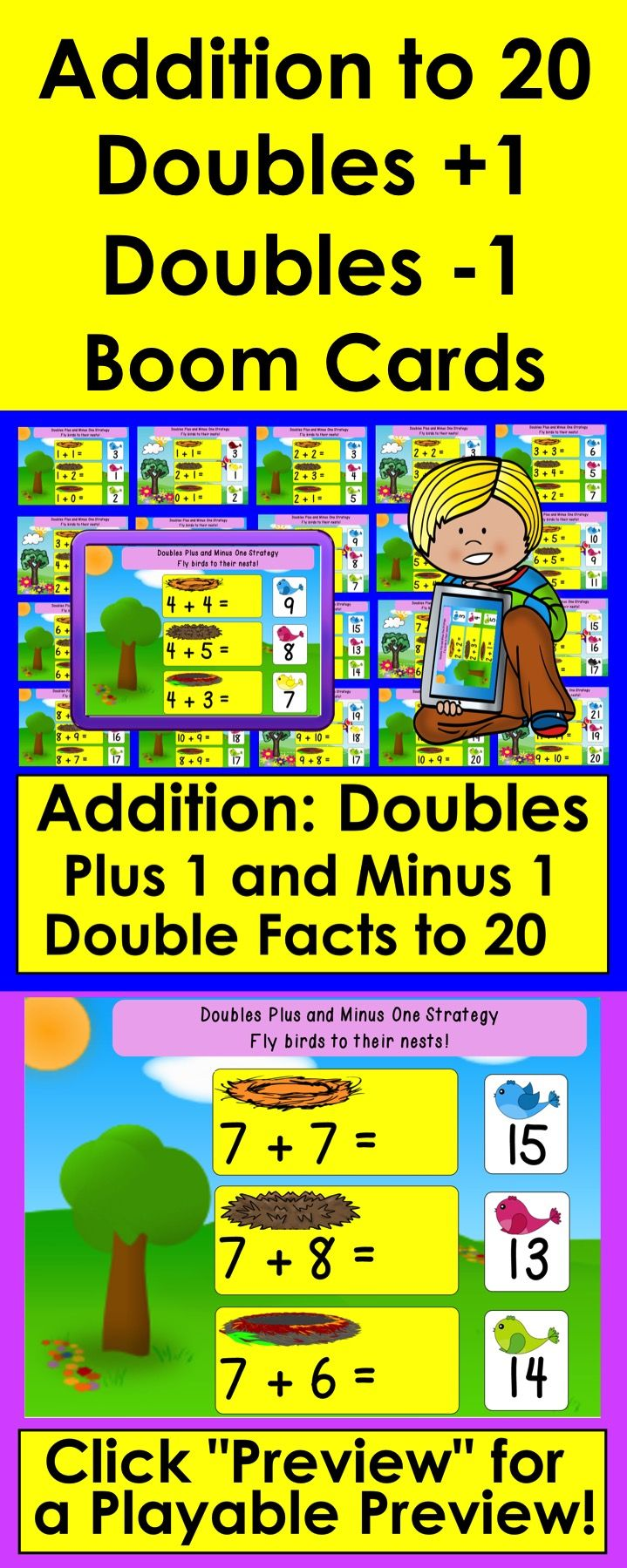Addition To 20 Doubles Plus One Strategy With Animated Flying Birds Feedback For Students Kids Learning Activities Math Addition Doubles plus one addition facts