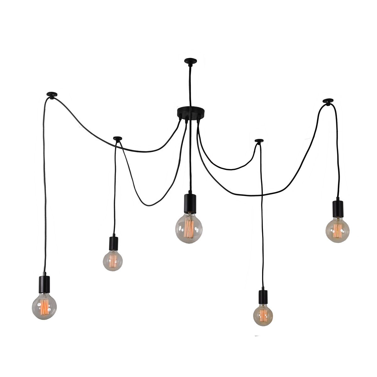 Suspension 5 Lumi Res Avec Ampoules Noir C Ble Noir Modulable