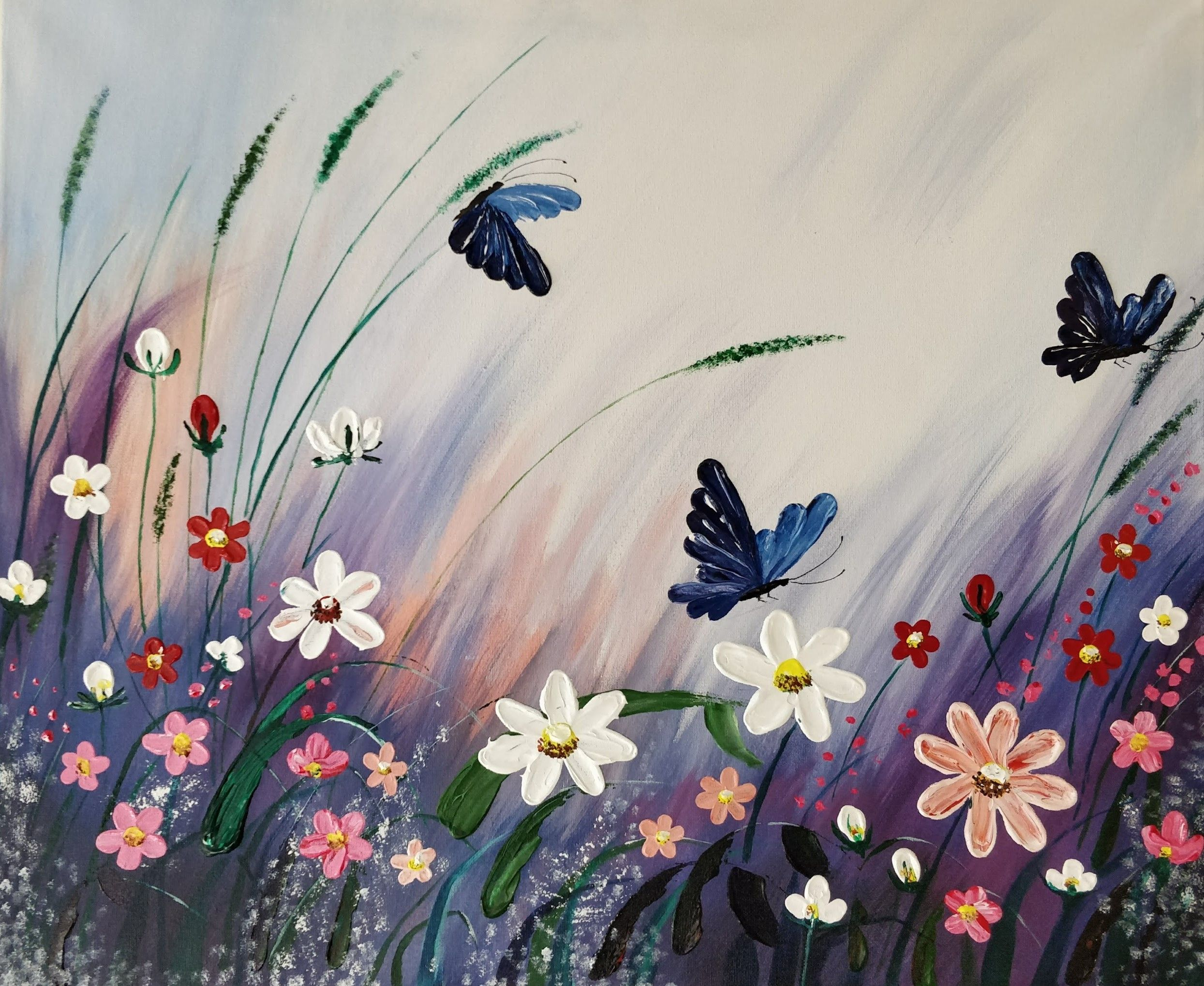 The Beautiful Garden And Butterflies Acrylic Painting Butterfly