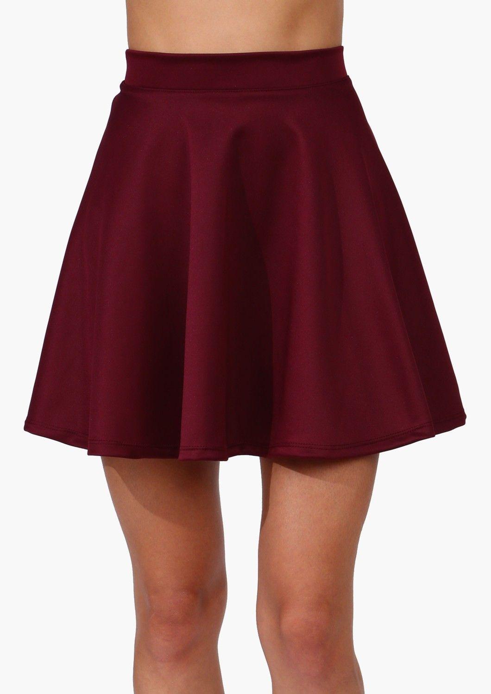 791236286 Burgundy skater skirt | style | Red skater skirt, Fashion, Burgundy ...