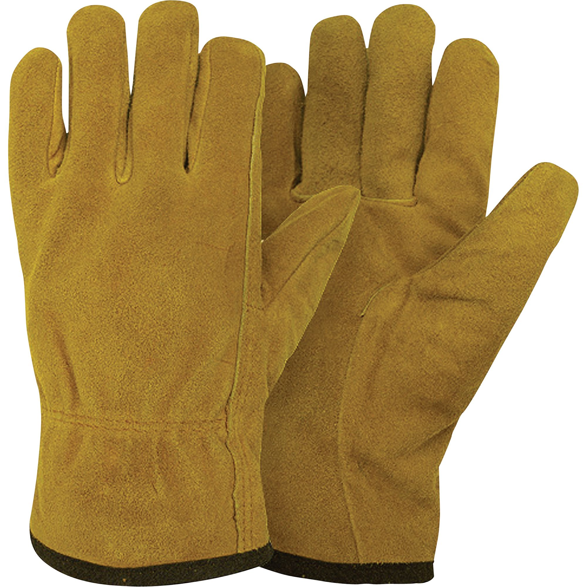 Leather work gloves with thinsulate lining - Hot Shot X Series Split Leather Pile Lined Driver Gloves