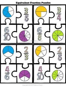 free math center equivalent fraction puzzles  math  pinterest  free math center equivalent fraction puzzles