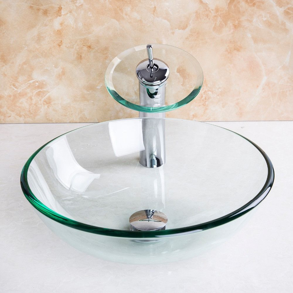 4012-1/4 Transparent Glass Basin Waterfall Tap+Bathroom Sink ...
