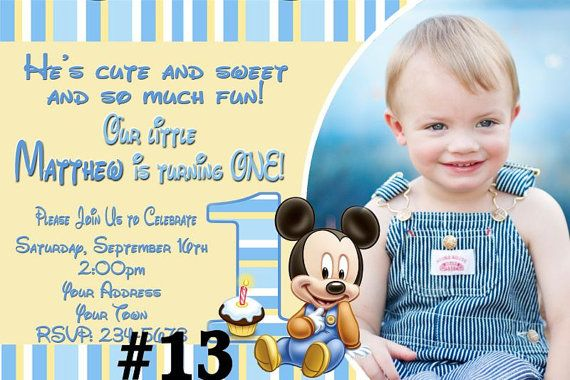 Baby Mickey Mouse First Birthday Invitation Photo You Print – Baby Mickey 1st Birthday Invitations