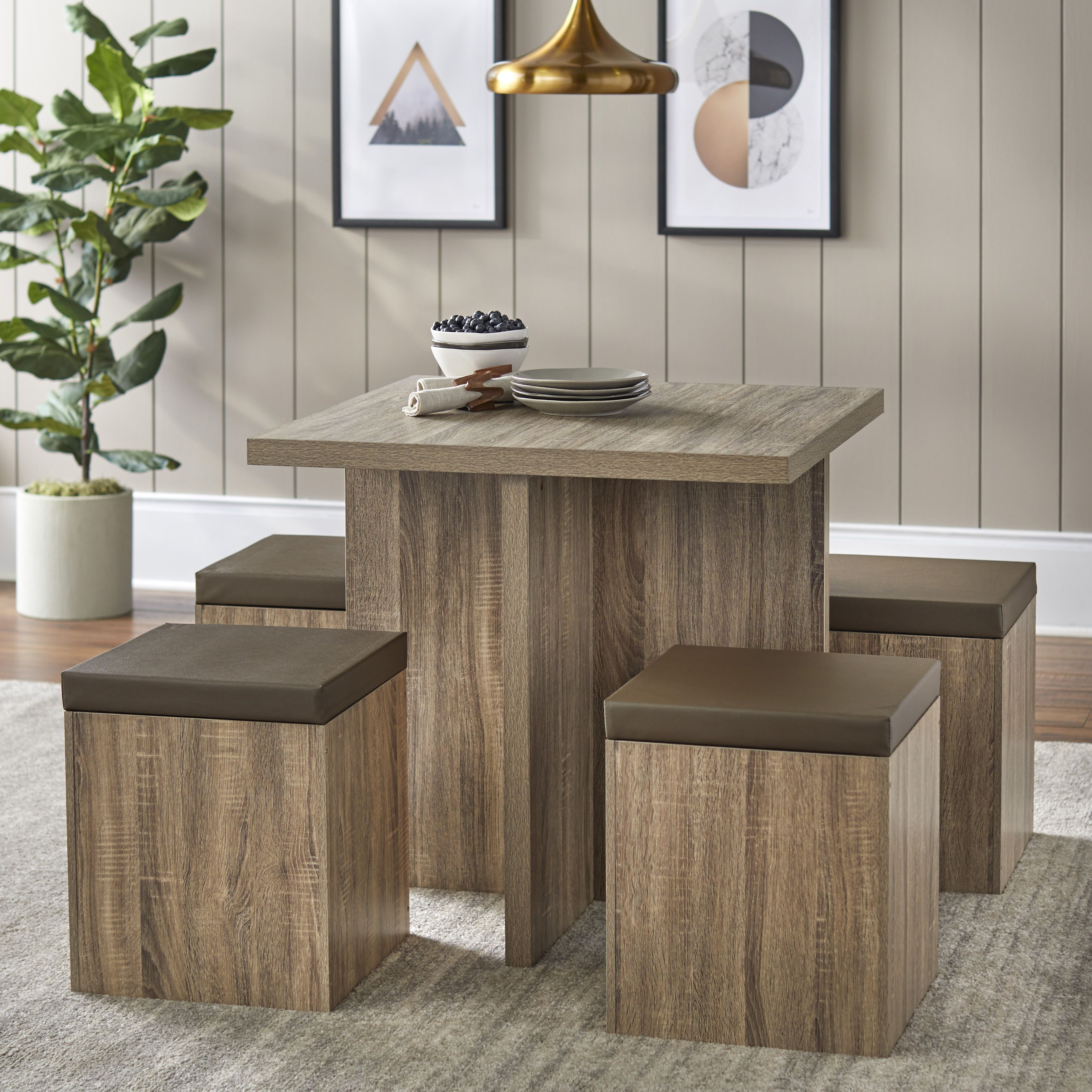 mainstays 5piece dexter dining set with storage ottoman