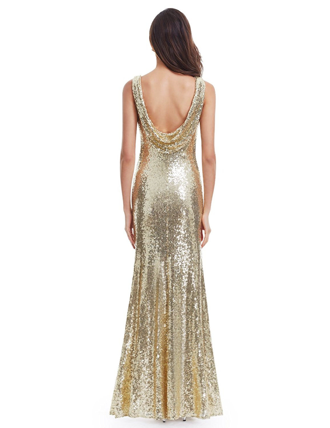 143bdf3185 Amazon.com  Ever Pretty Back Cowl Neck Shine Sequin Sparkle Elegant Gold  Evening Party Gown 07110  Clothing