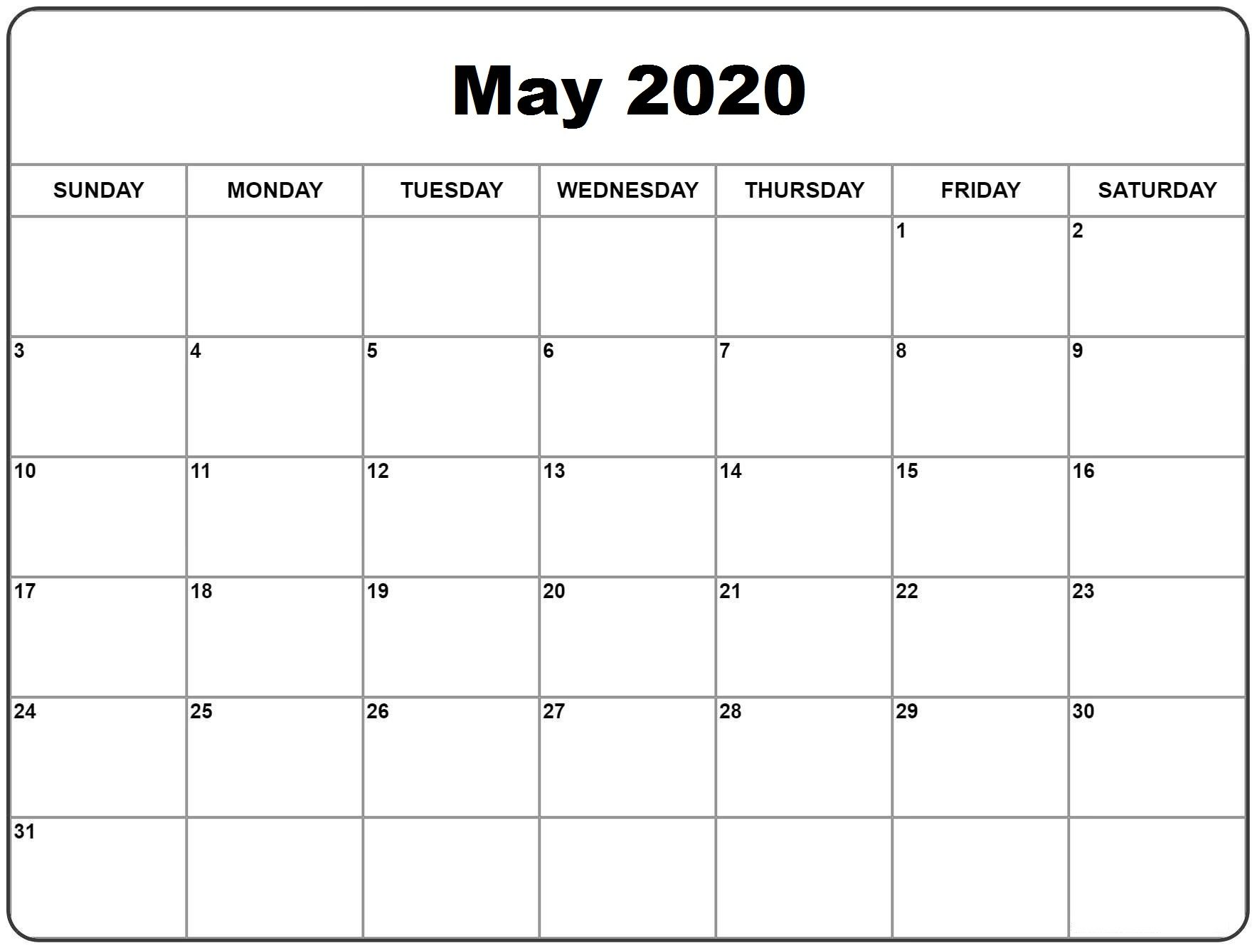 Free May 2020 Calendar Download Cute Templates Free Printable