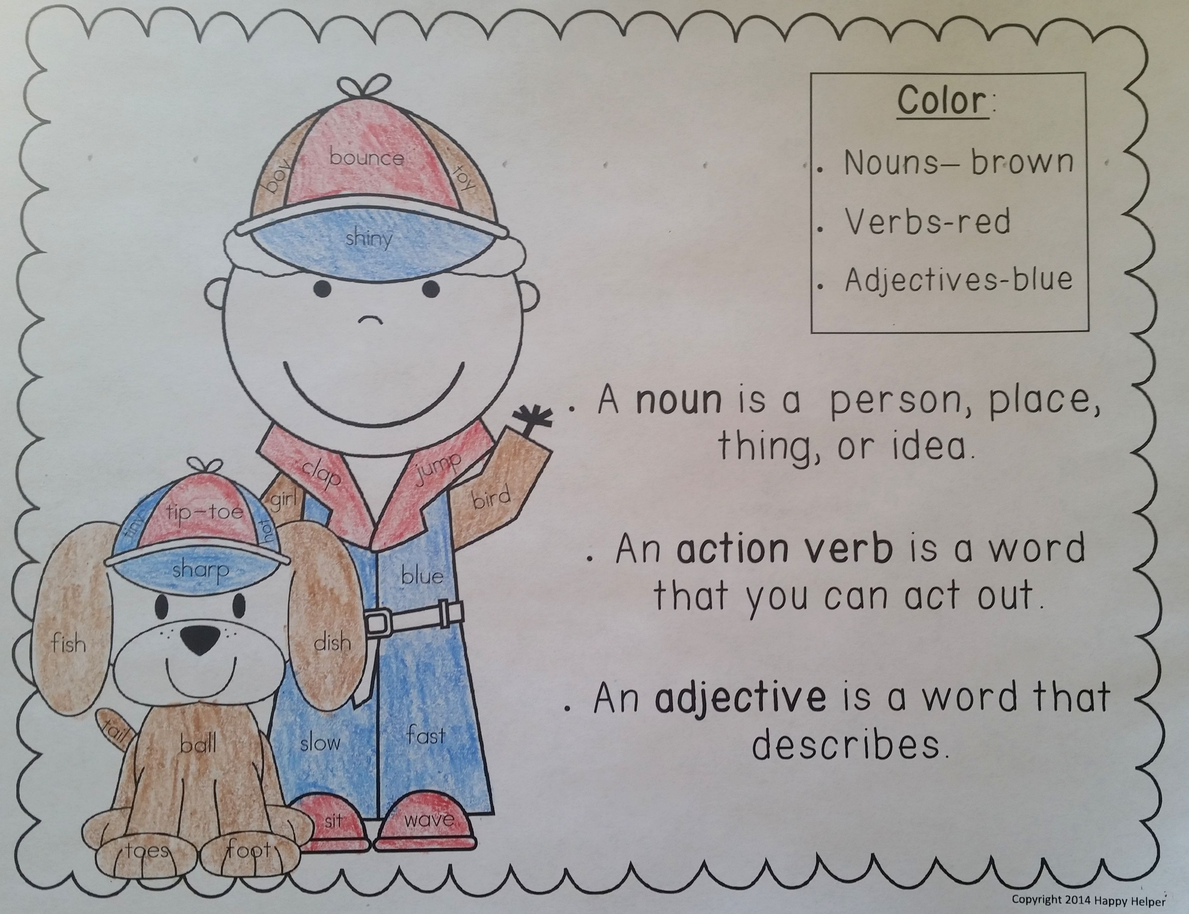 Nouns Action Verbs And Adjectives Writing Center