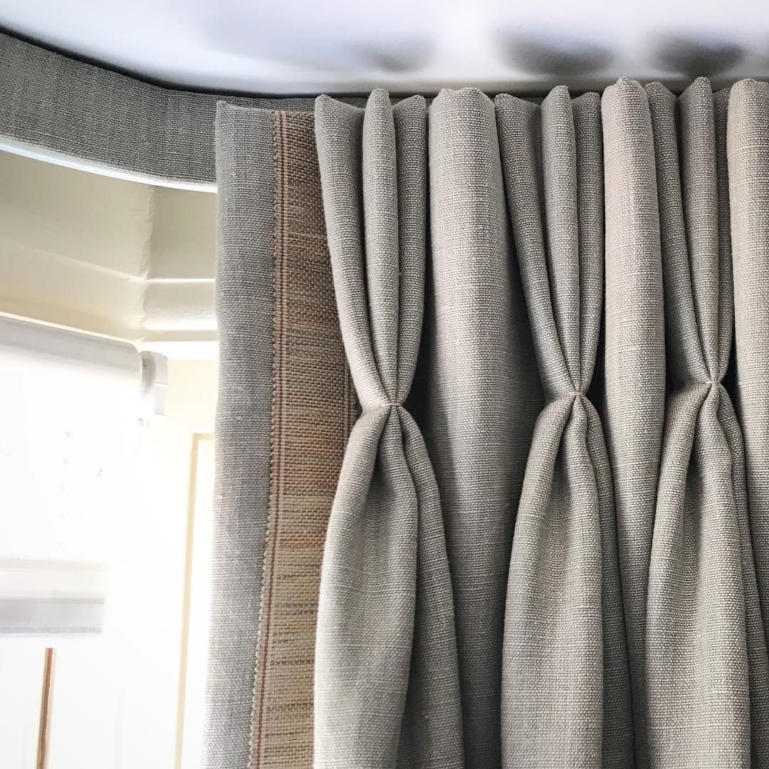Handmade Curtains Hanging From A Covered Track. By The