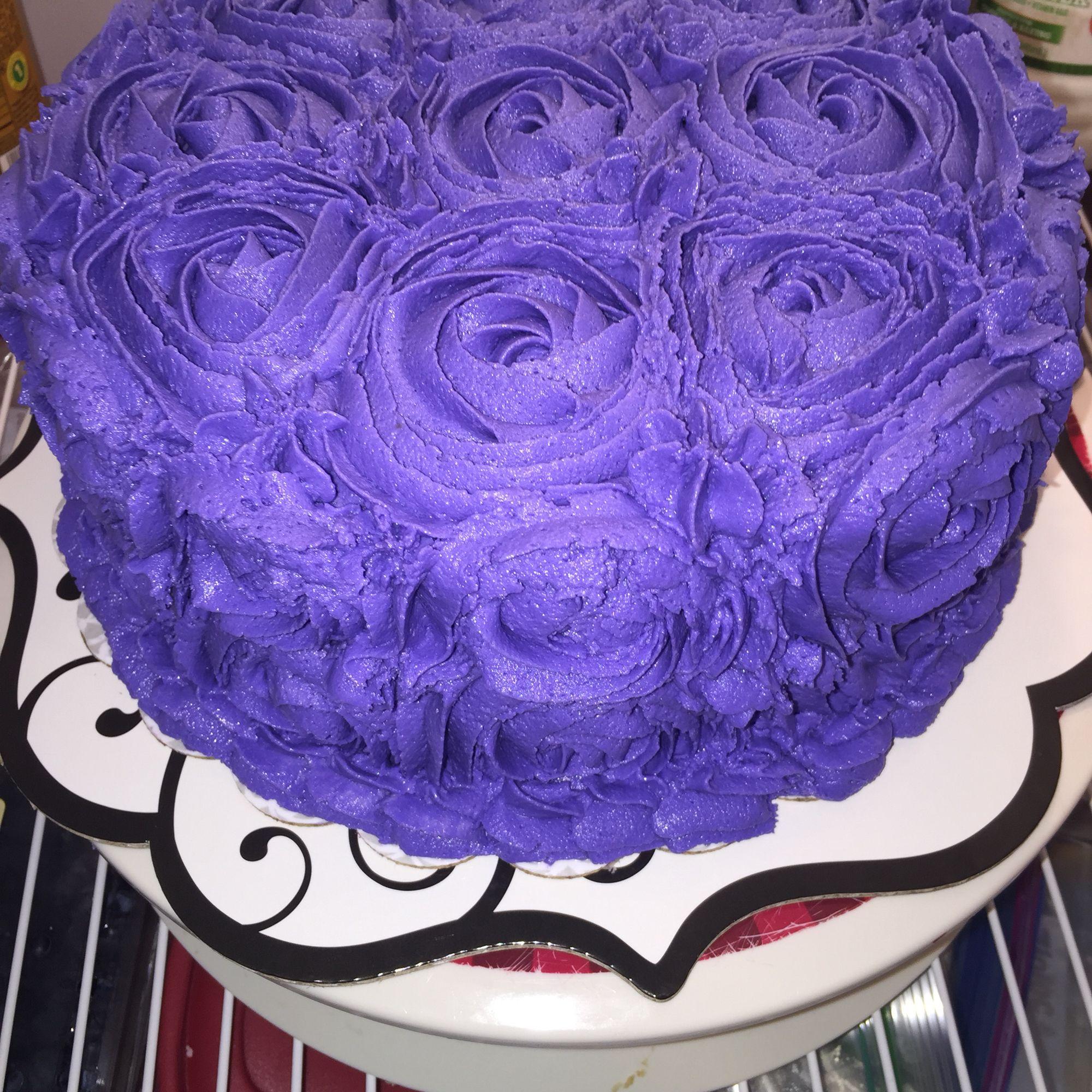 Purple Rosette Cake www.facebook.com/FriscoCakePopShop www.friscocakepopshop.com www.Instagram.com/FriscoCakePopShop