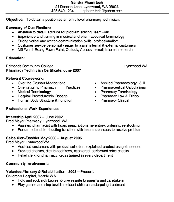 objective for pharmacy technician resumes