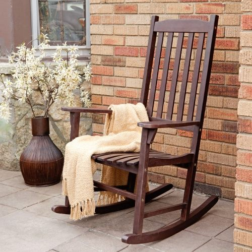 Coral Coast Indoor/Outdoor Mission Slat Rocking Chair - Dark Brown - Indoor Rocking Chairs at Hayneedle