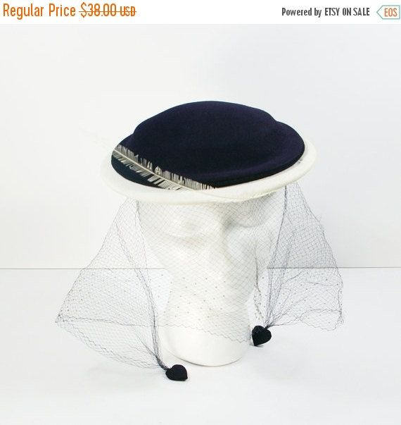 Vintage Tilt Hat, 50s Navy Blue and White Felt Hat with Feather Rhinestone and Blusher Veil, Blue Cocktail Hat