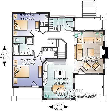 Détail du plan de Maison unifamiliale W3947 Maison Pinterest