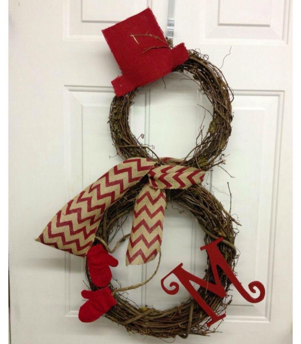 Snowman wreath for front door. Cute!! Santa Baby
