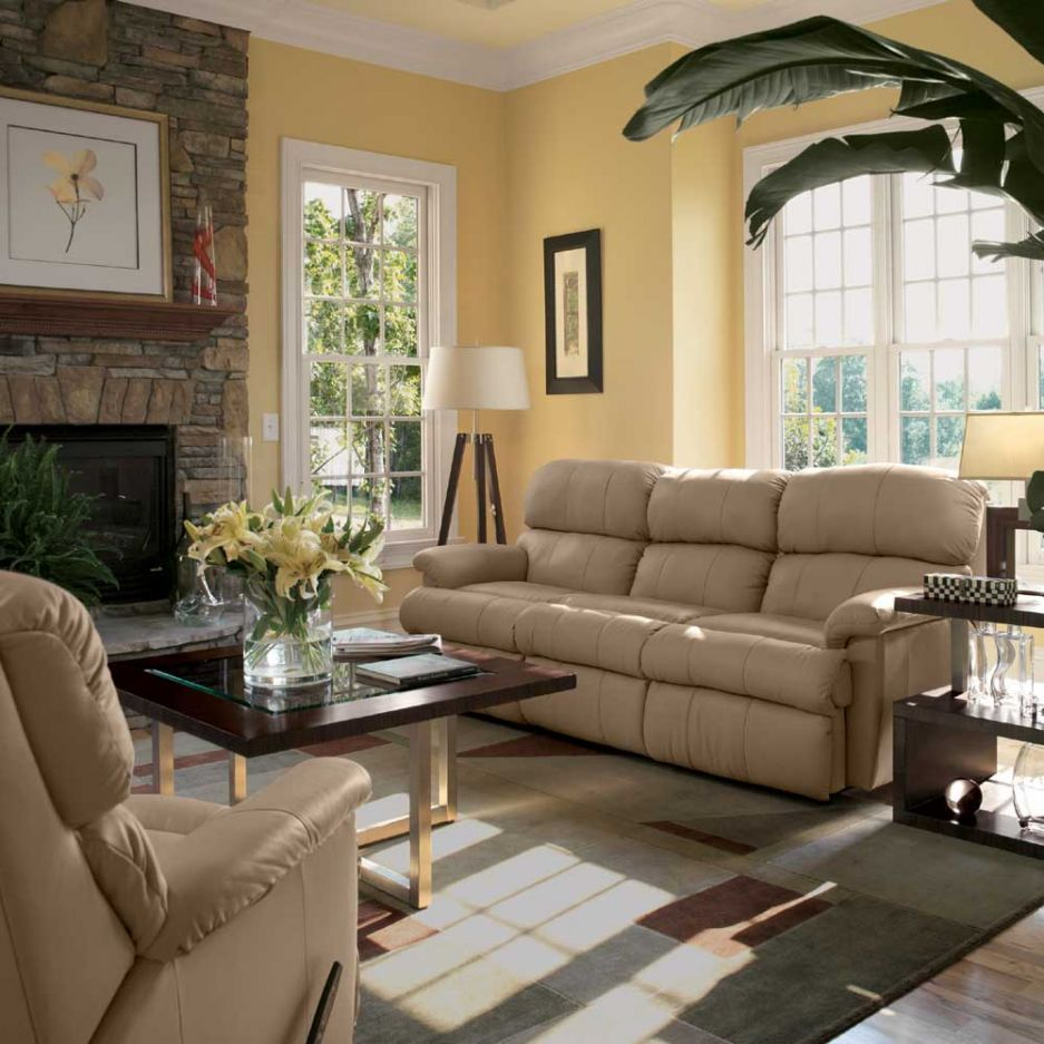 Stone Fireplace Room Colors  Brown Living Room Decor With Delectable Brown Living Room Design Inspiration