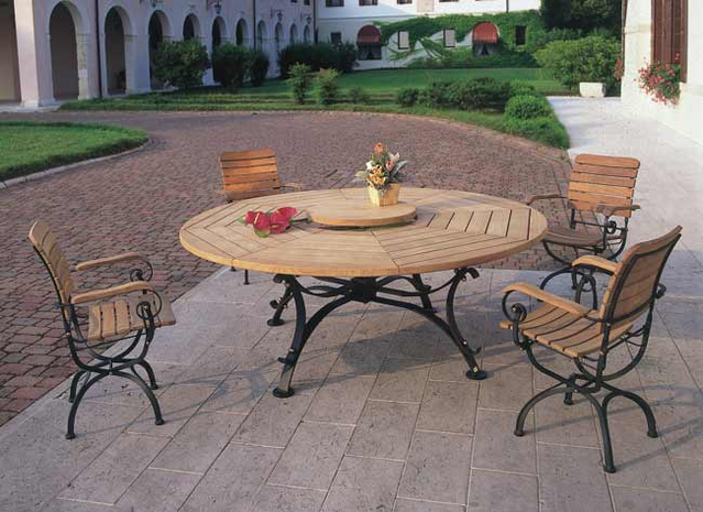 Round Woodenmetal Patio Table Patio Table Set With Chairs In Iron - Teak and metal outdoor table