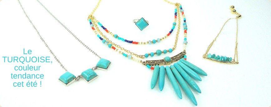 La couleur turquoise est à l'honneur cet été dans les collections de bijoux ! #parissima #grossistebijoux #bijouxfantaisie