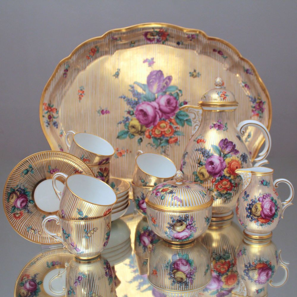 nymphenburg 6 pers kaffeeservice goldstreifen blumen barock coffee set gold. Black Bedroom Furniture Sets. Home Design Ideas