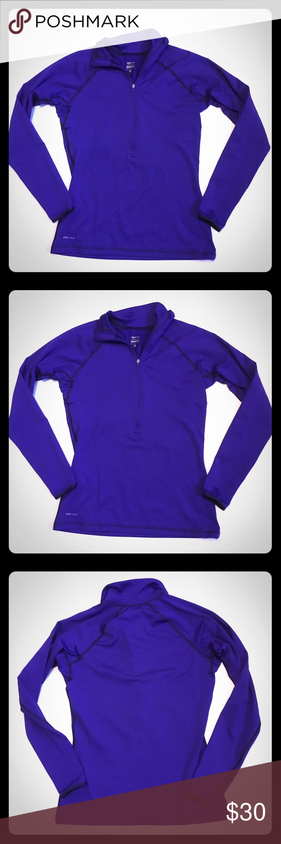 bdf109085db2 Nike Pro dri-fit Purple half zip running jacket Nike Pro dri-fit purple  half zip running sweatshirt. Gently used and in good condition! Lined in  light ...