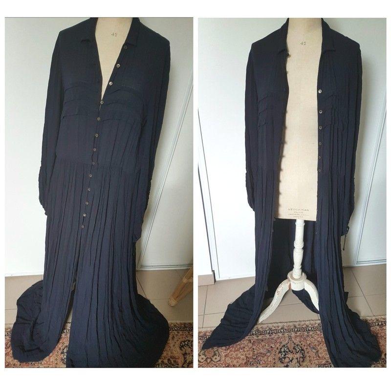 Robe longue bleu nuit gypsy bohemeMango TS 36 38 40   vide dressing ... cc7b6aae6111