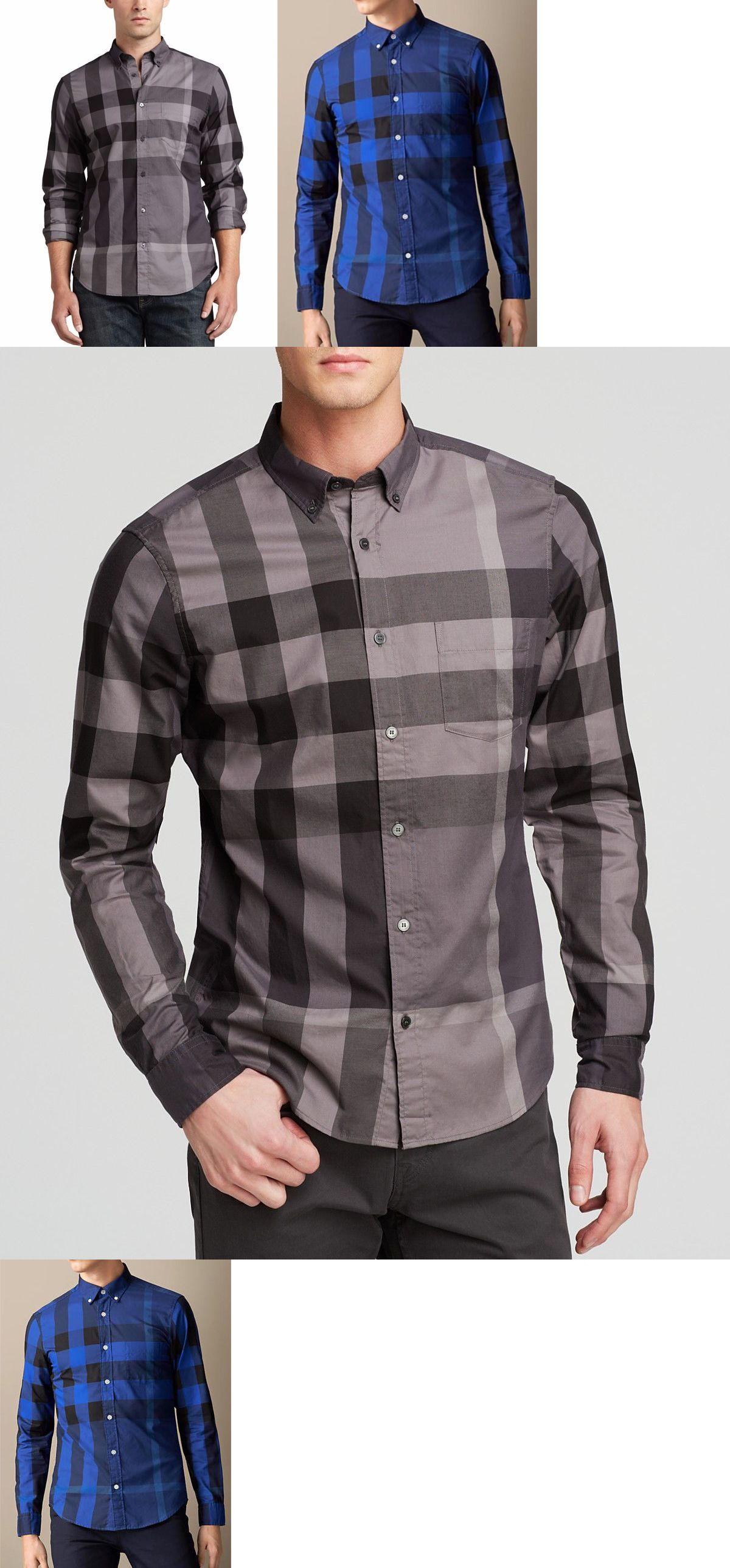 8f0daf2e319 Dress Shirts 57991: Burberry Brit Men S Charcoal Blue Button Down Exploded  Nova Check Shirt S,M,L,Xl -> BUY IT NOW ONLY: $129.99 on eBay!