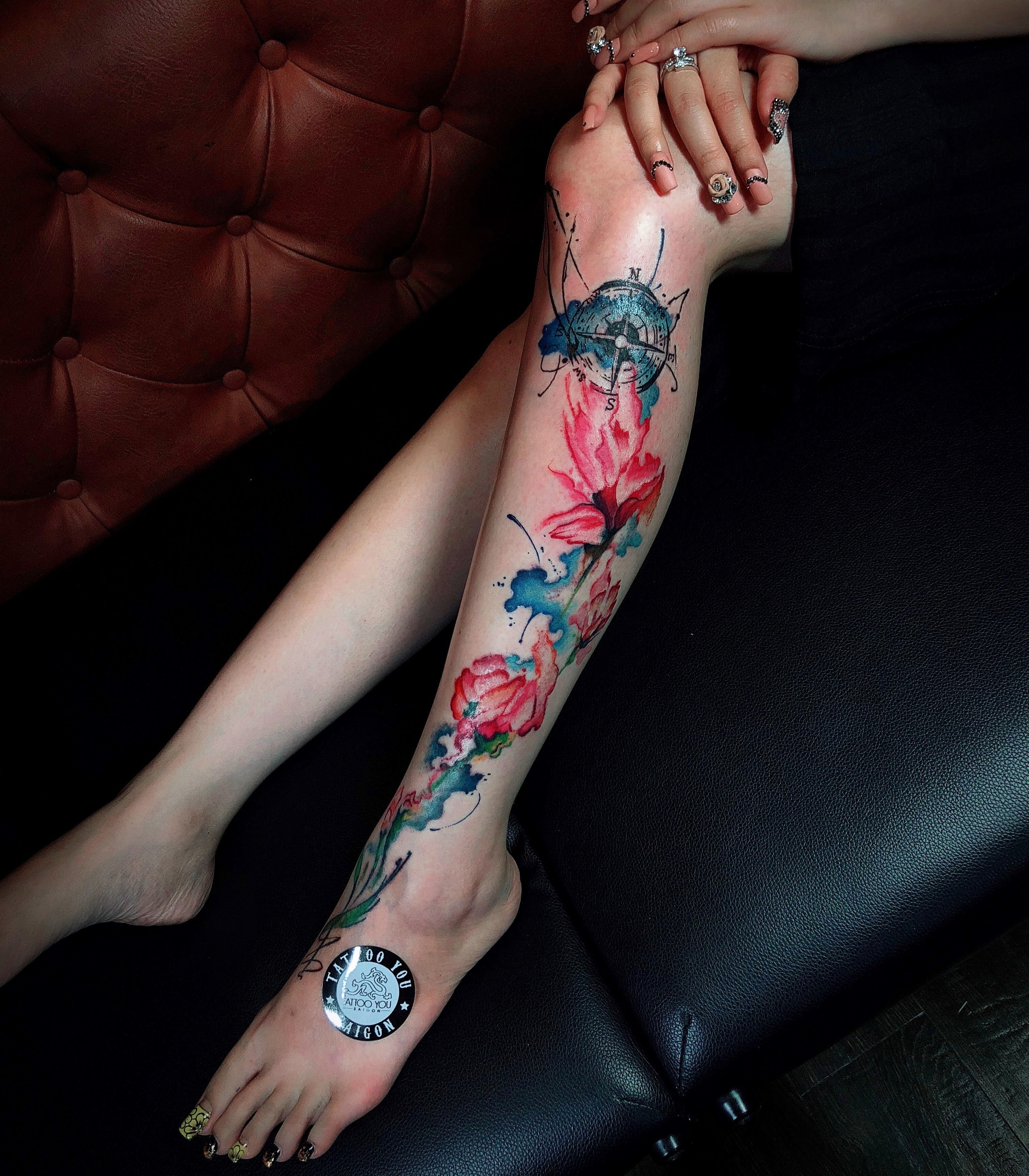 Flower watercolor tattoo by hoangmosskow tattooyousaigon h