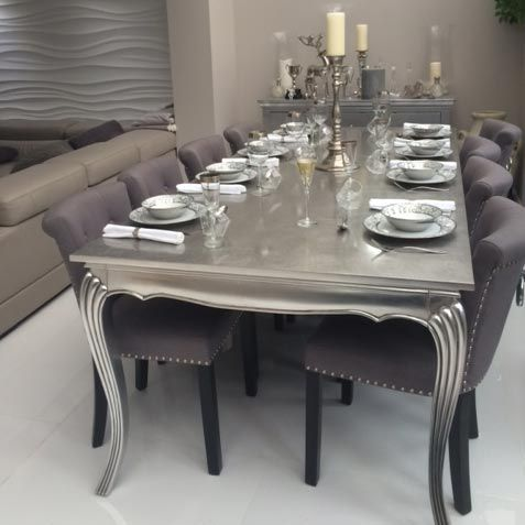 silver dining table and chairs. Bespoke Silver  Gold Leaf X LARGE 2 4m Dining Table Various Sizes Finishes