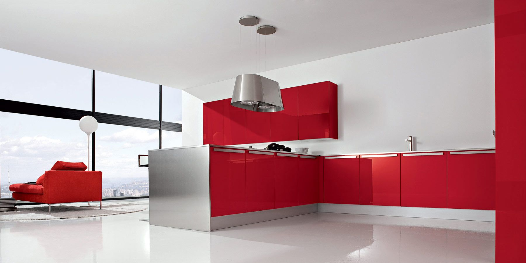 Attractive Interior, Awesome Large Space Italian Kitchen Cabinet Design Ideas With  Marvelous Red Wood Kitchen Cabinet