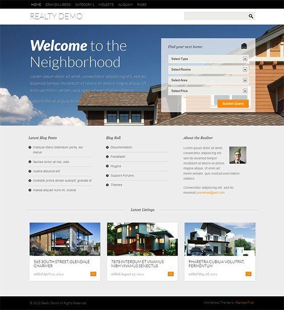tema de bienes raíces de WordPress ofrece un diseño de respuesta, la ...